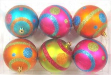 6pk Mardi Gras Ball Ornament with Line and Dots Design