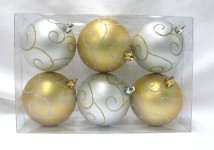 6pk Gold and Silver Ball Ornament with Swirl Design