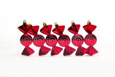 Red and White Candy Ornament with Spiral Design 6 pack