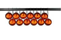 80mm Matte Orange Ball Ornament with Wire, UV Coated