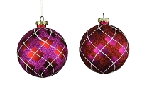 100MM 4 PACK RED & WHITE BALL ORNAMENTS