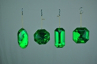 4 PACK GREEN JEWEL ORNAMENTS