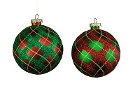 100MM 4 PACK RED & GREEN ORNAMENTS