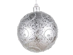 120MM Silver Ornament Ball with Silver Glitter Design