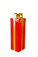 4' Red Gift Box with Gold Ribbon and Bow