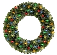 3' Blended Pine Wreath Lit with Multi Color Lights