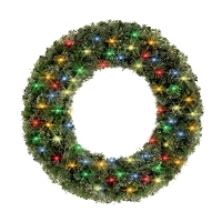 4' Blended Pine Wreath Lit with Multi Color Lights