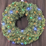 2' Sequoia Pine Wreath Pre-Lit with Multi Colored LEDS