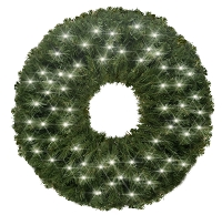 2' Sequoia Wreath Pre-Lit with Pure White LEDS