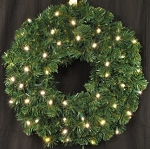 2' Pre-Lit Battery Operated Warm White LED Sequoia Wreath
