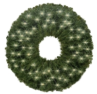 2' Pre-Lit Warm White LED Sequoia Wreath