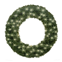 4' Sequoia Wreath Pre-Lit with Warm White LEDS