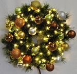 4' Pre-Lit Warm White LED Sequoia Wreath Decorated with the Woodland Ornament Collection