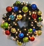 5' Sequoia Wreath Decorated with The Fiesta Ornament Collection Pre-Lit Warm White LEDS