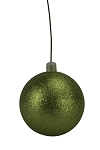 120mm Lime Green Glitter Ball Ornament with Wire