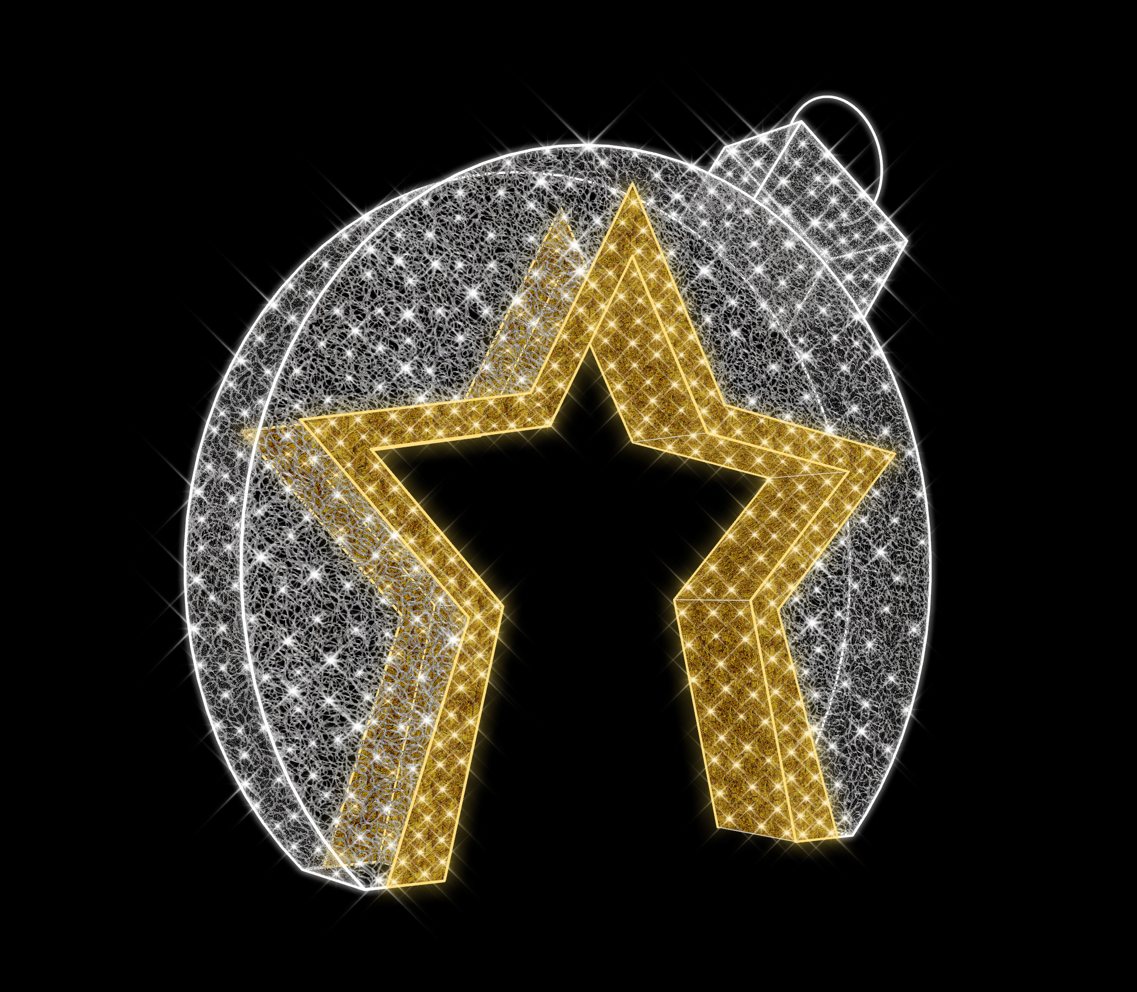 11' 3D ORNAMENT WITH STAR WALK THRU NEON FLEX