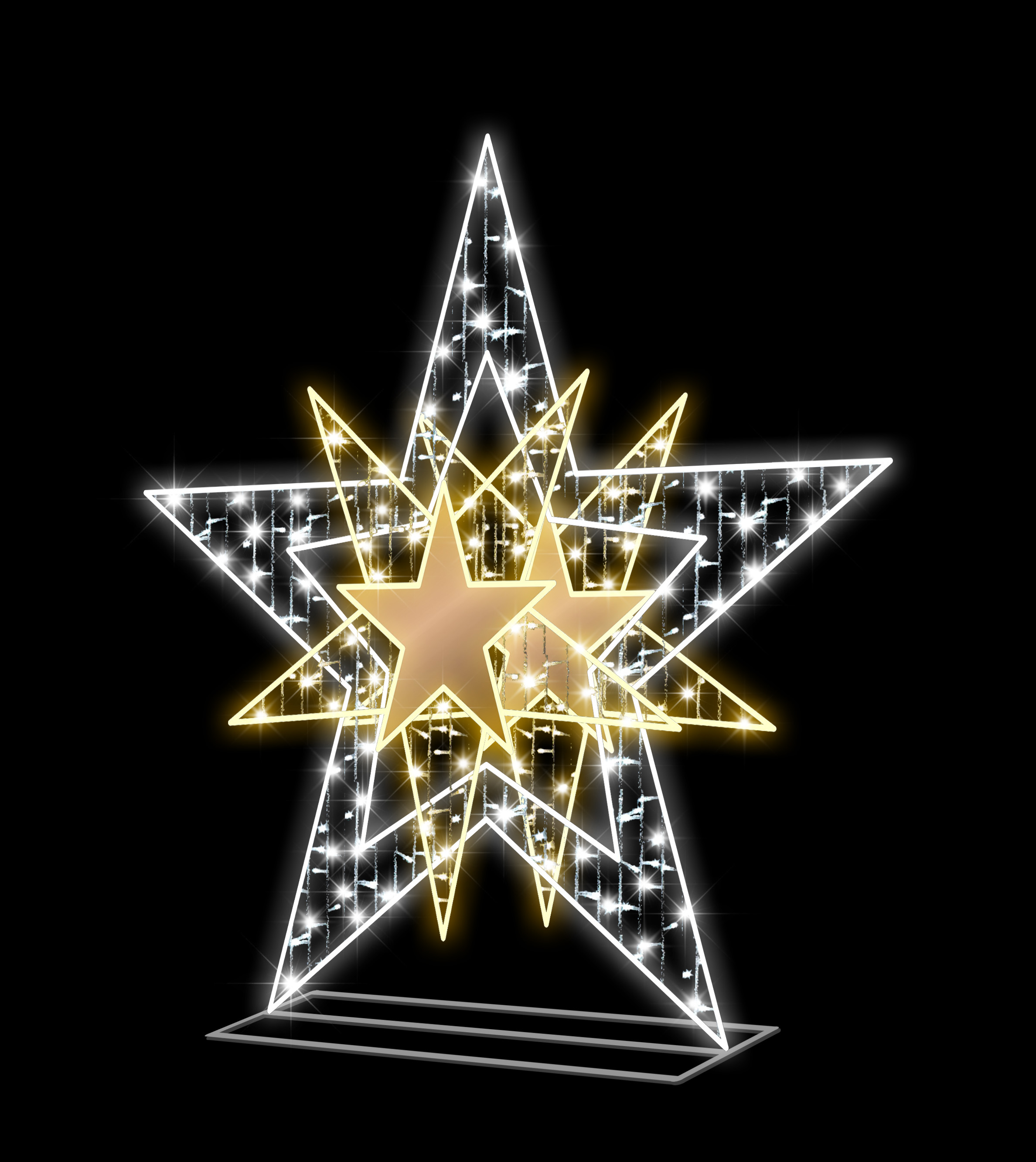 5' 3D  STAR WARM WHITE NEON FLEX