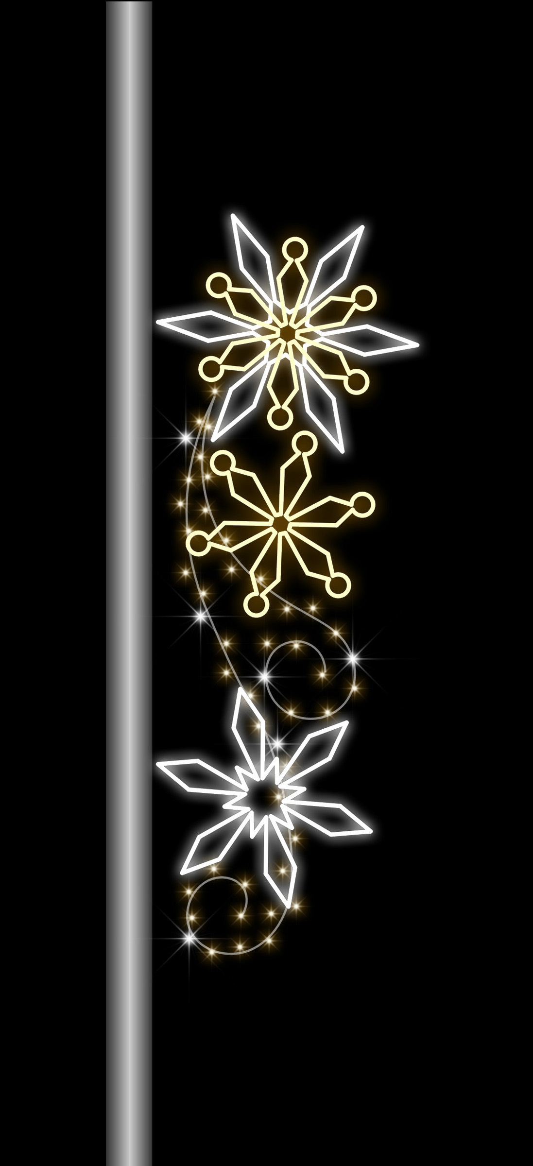 6' POLE MOUNT WITH SNOWFLAKES