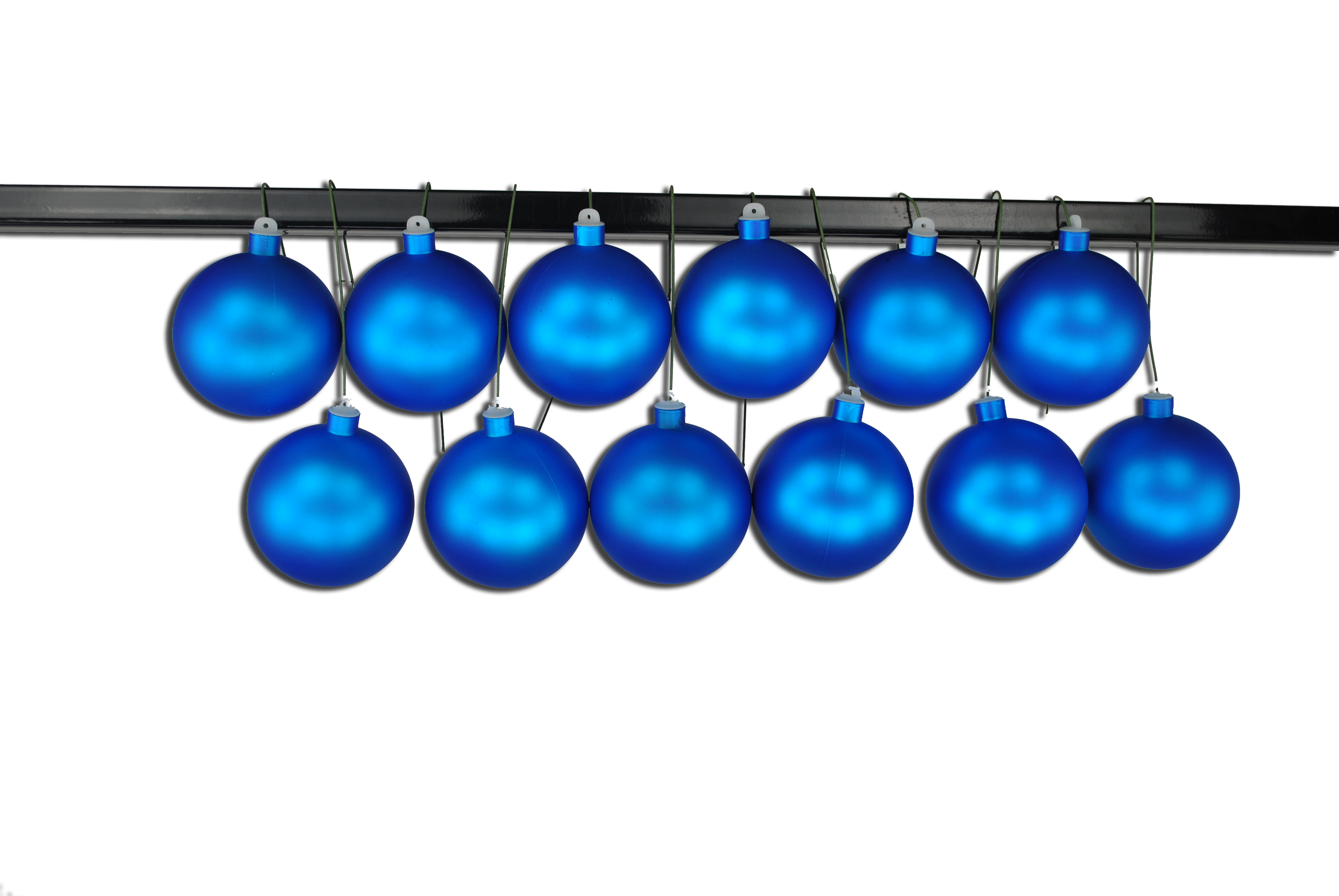 100mm Matte Blue Ball Ornament with Wire and UV Coating